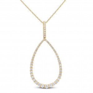 18KT 1.60 CT Diamond Pear Shape Pendant With Chain
