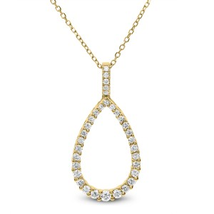 18KT 0.40 CT Diamond Pear Shape Pendant With Chain