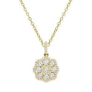 18KT 0.82 CT Diamond Floral Cluster Pendant