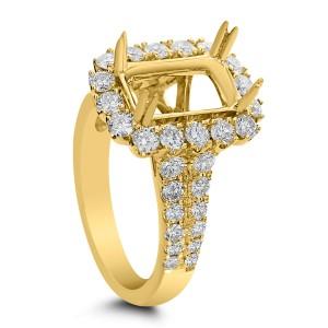18KT 1.42 CT Diamond Semi Mount Emerald Ring