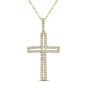 18KT 0.52 CT Diamond Cross Pendant With Chain