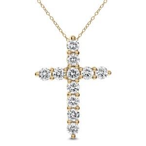 18KT 1.93 CT Diamond Cross Pendant With Chain