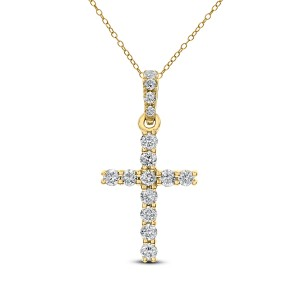 18KT 0.25 CT Diamond Cross Pendant With Chain