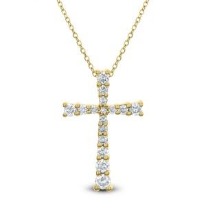 18KT 0.26 CT Diamond Cross Pendant With Chain