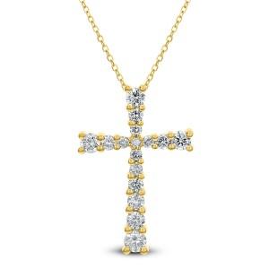 18KT 0.76 CT Diamond Cross Pendant With Chain