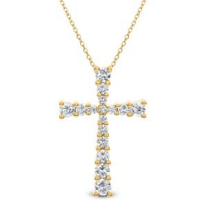18KT 1.49 CT Diamond Cross Pendant With Chain