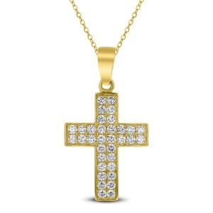 18KT 0.85 CT Diamond Cross Pendant With Chain