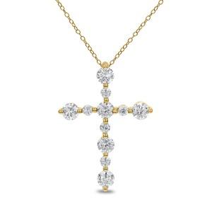18KT 0.33 CT Diamond Cross Pendant With Chain