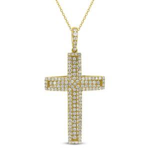 18KT Diamond 1.65 CT Cross Pendant With Chain