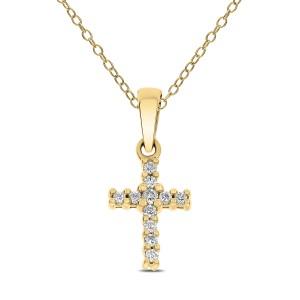 18KT 0.10 CT Diamond Cross Pendant With Chain