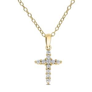 18KT 0.20 CT Diamond Cross Pendant With Chain