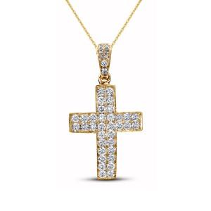 18KT 0.94 CT Diamond Cross Pendant With Chain