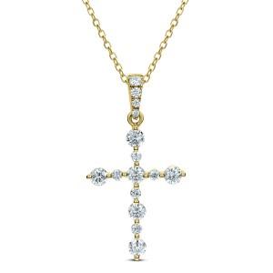 18KT 0.38 CT Diamond Cross Pendant With Chain