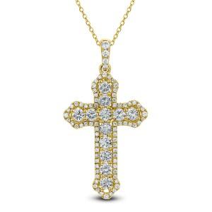 18KT 2.04 CT Diamond Cross Pendant With Chain