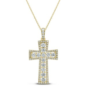 18KT 1.88 CT Diamond Cross Pendant with Chain