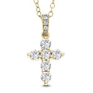 18KT 1.72 CT Diamond Cross Pendant With Chain