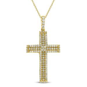 18KT 1.00 CT Diamond Cross Pendant With Chain