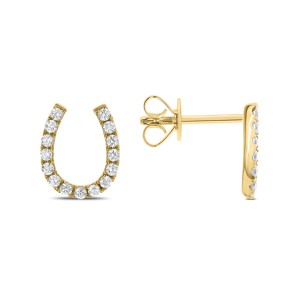 18KT 0.32 CT Diamond Horseshoe Earrings