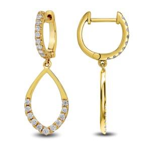 18KT 0.88 CT Diamond Open Pear Drop Earrings