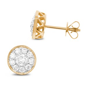 18KT 0.50 CT Round Cluster Diamond Earring