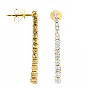18KT 1.35 CT Diamond Line Drop Earrings