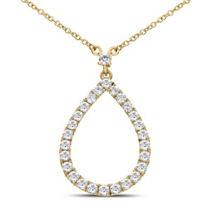 18KT 0.62 CT Diamond Pear Shape Pendant With Chain