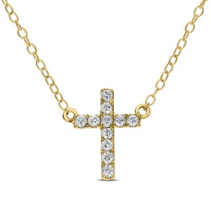 14KT 0.12 CT Diamond Cross Pendant Necklace With Chain