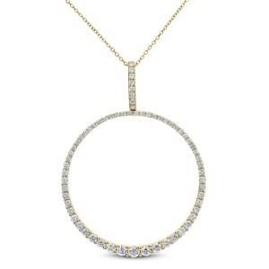 18KT 1.80 CT Diamond Round Shape Pendant With Chain