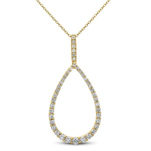 18KT 0.90 CT Diamond Pear Shape Pendant With Chain