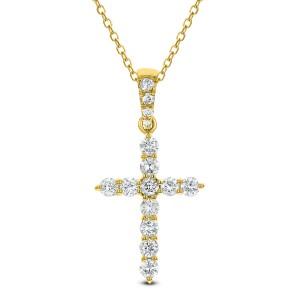 18KT 0.37 CT Diamond Cross Pendant With Chain