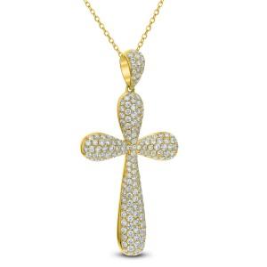 18KT 2.21 CT Diamond Cross Pendant With Chain