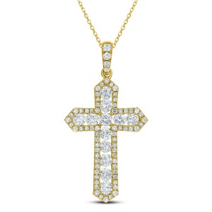 18KT 1.94 CT Diamond Cross Pendant With Chain