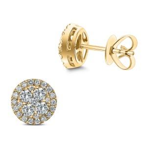 18KT 0.97 CT Diamond Round Cluster Earrings