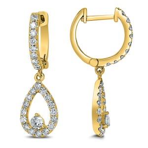 18KT 1.08 CT Diamond Tear Drop Earrings