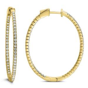 18KT 1.95 CT Diamond Oval Hoop Earrings