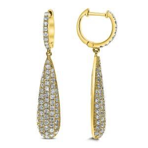 18KT 2.29 CT Diamond Pave Tear Drop Earrings