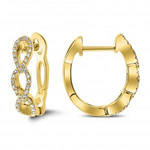 18KT 0.10 CT Diamond Hoop Earrings