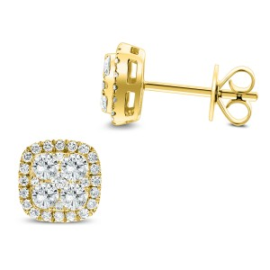 18KT 0.86 CT Diamond Square Shape Earrings