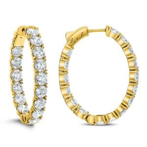 18KT 10.00 CT Diamond Inside Outside Oval Hoop Earrings