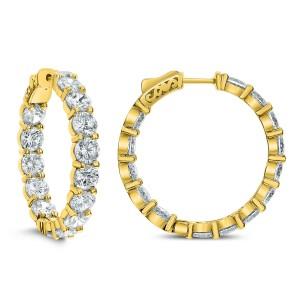 18KT 14.32 CT Diamond Inside Outside Hoop Earrings