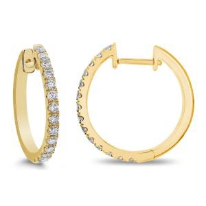 14KT 0.50 CT Diamond Round Hoop Earrings