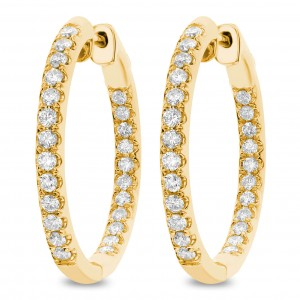 18KT 1.00 CT Diamond Inside Outside Hoop Earrings