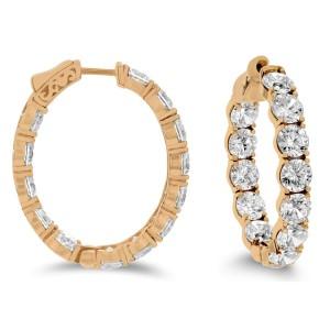 18KT 13.00 CT Diamond Hoop Earrings