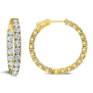 18KT 5.00 CT Diamond Hoop Earrings