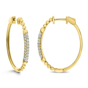 18KT 0.75 CT Diamond Oval Hoop Earrings