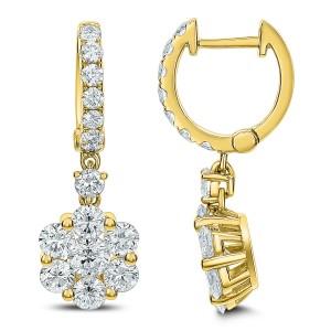 18KT 2.68 CT Diamond Floral Shape Earrings
