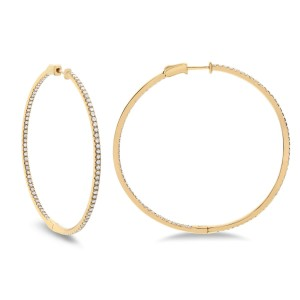 14KT 1.91 CT Diamond Hoop Earrings