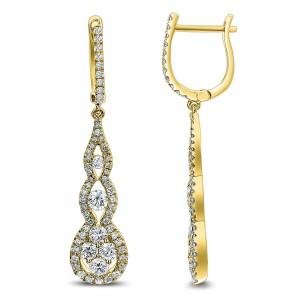 18KT 1.68 CT Diamond Pave Drop Earrings