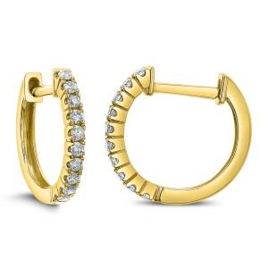 18KT 0.20 CT Diamond Round Hoop Earrings