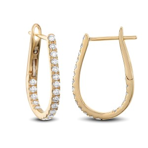 18KT 0.46 CT Diamond Oval Hoop Earrings